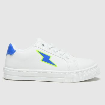 schuh White & Blue Lightening Lace Up Boys Junior