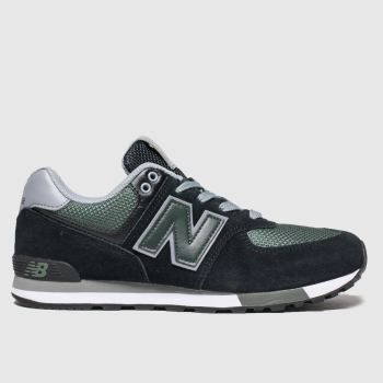 New Balance Black & Green 574 Boys Youth