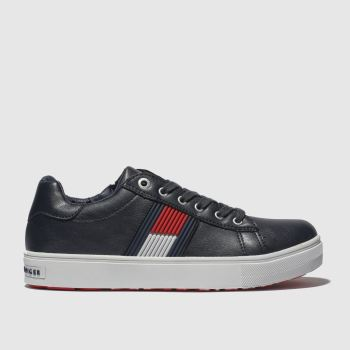 Tommy Hilfiger Navy & White Flag Lace Up Sneaker Boys Youth