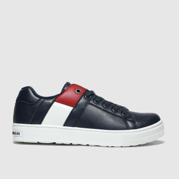 Tommy Hilfiger navy & red lace up sneaker trainers youth