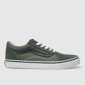 VANS DARK GREEN OLD SKOOL BOYS YOUTH TRAINERS