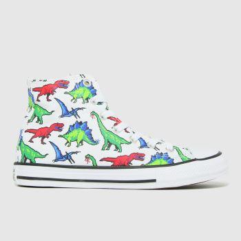 Converse White & Green Hi Dino Boys Youth
