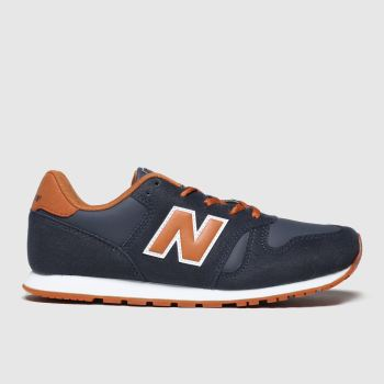 new balance navy & orange 373 trainers youth
