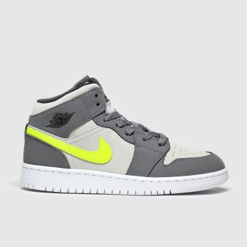 Nike Jordan Grey & Lime Nike Air Jordan 1 Mid Boys Youth