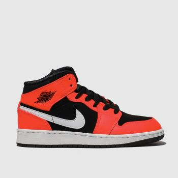 Nike Jordan Black & Red 1 Mid Boys Youth