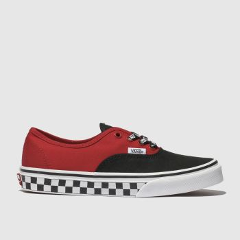 vans black & red authentic logo pop trainers youth
