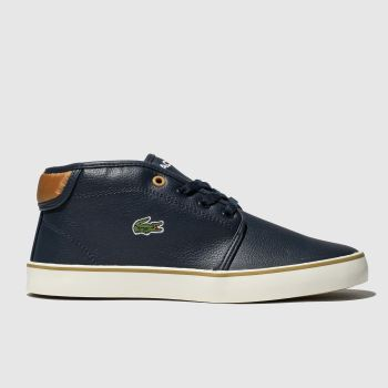lacoste navy ampthill boot trainers youth