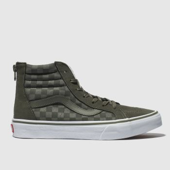vans khaki sk8-hi zip trainers youth