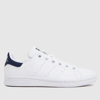 adidas White & Navy Stan Smith Boys Youth
