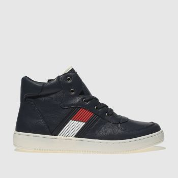 Tommy Hilfiger Navy & Red High Top Lace Up Sneaker Boys Youth