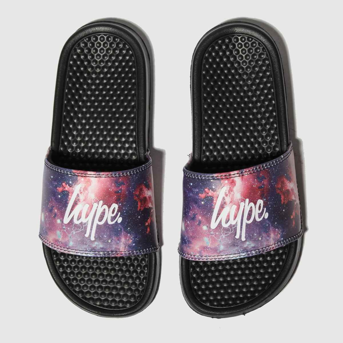 Hype Black & Purple Fired Up Sliders Sandals Youth