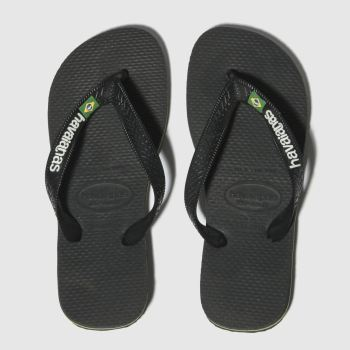 Havaianas Black Brasil Logo Boys Youth