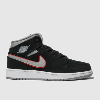 Nike Jordan Black & Grey Air Jordan 1 Mid Boys Youth