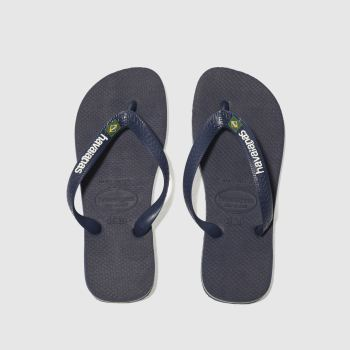 havaianas navy brasil logo sandals youth