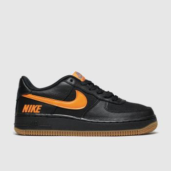 Nike Black & Orange Air Force 1 Lv8 5 Boys Youth
