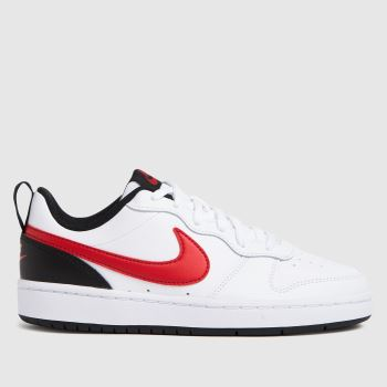 Nike White & Red Court Borough Low 2 Boys Youth