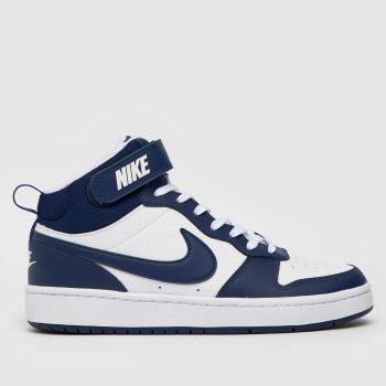 Nike White & Navy Court Borough Mid 2 Boys Youth