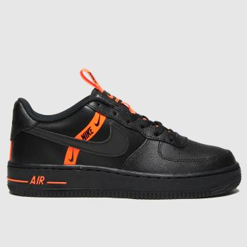 Nike Black & Orange Air Force 1 Lv8 Ksa Boys Youth