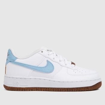 Nike White & Pl Blue Air Force 1 Lv8 Boys Youth