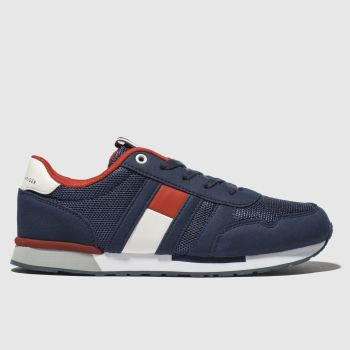 Tommy Hilfiger Navy & Red Flag Lace Up Sneaker Boys Youth