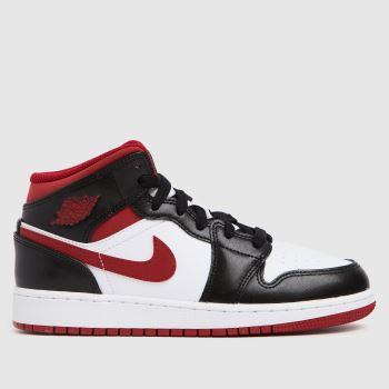Nike Jordan White & Red 1 Mid Boys Youth