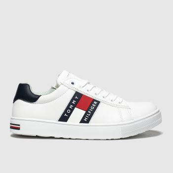 Tommy Hilfiger White & Navy Lace Up Sneaker Boys Youth#