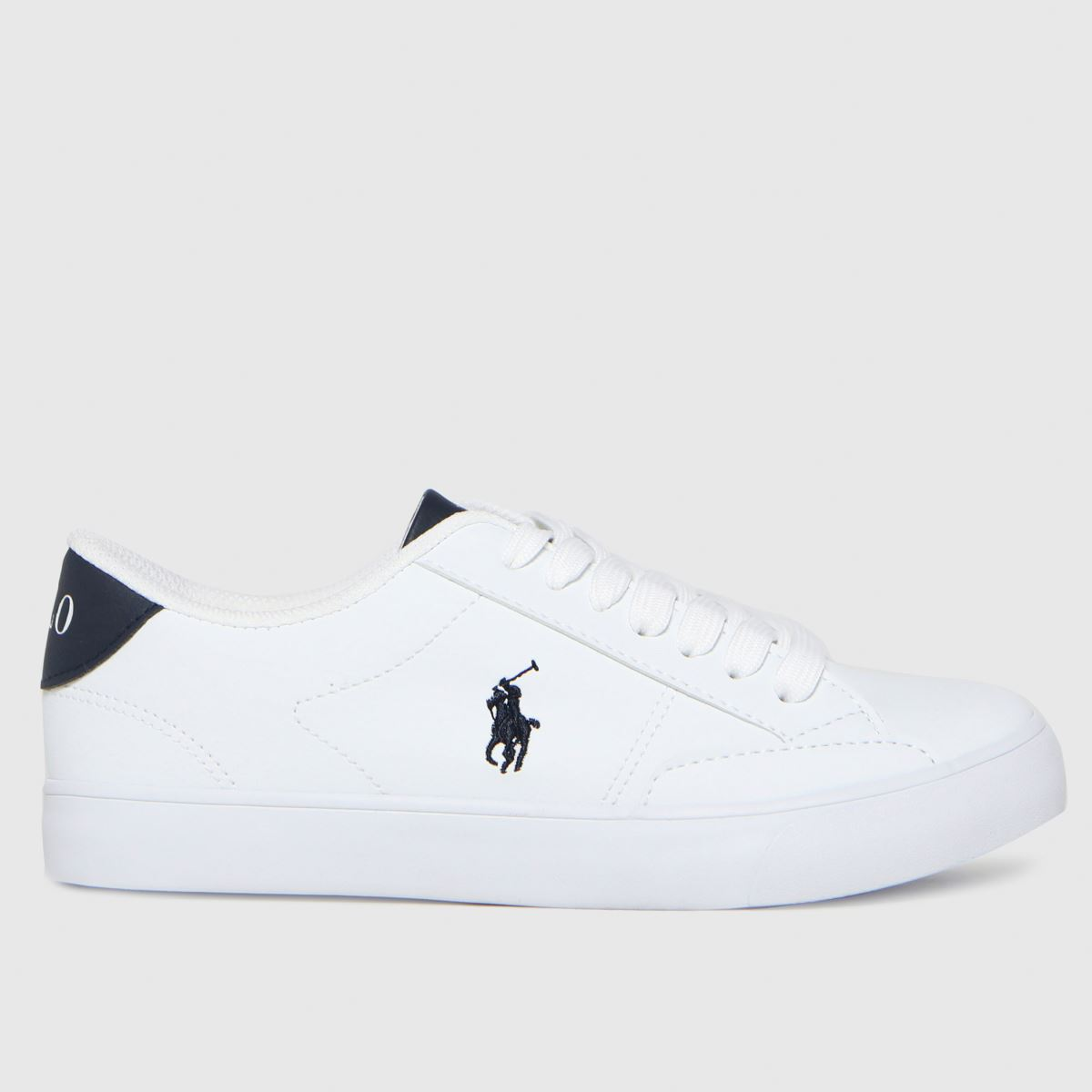 Polo Ralph Lauren White & Navy Theron Iv Trainers Youth
