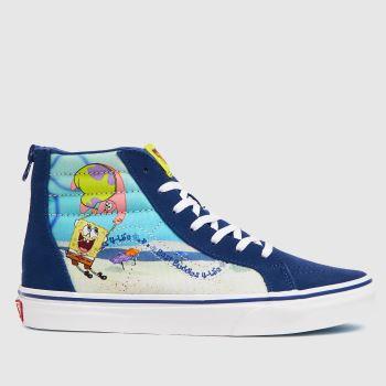 Vans Navy & Pl Blue Spongebob Sk8-hi Zip Boys Youth