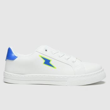 schuh White & Blue Lightening Lace Up Boys Youth