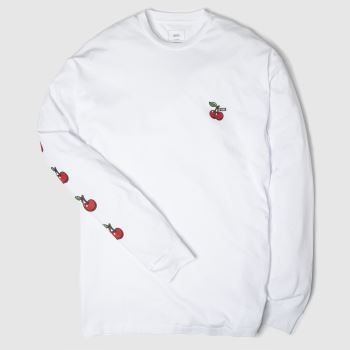 Vans White & Red Cherries Ls Tee Mens