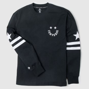 Converse Black & White Twisted Varsity Ls Tee Mens