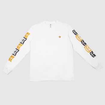 Converse White & Orange Graphic Long Sleeve Tee Mens