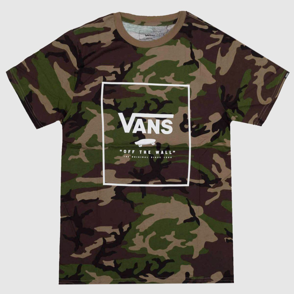 clothing vans khaki print box