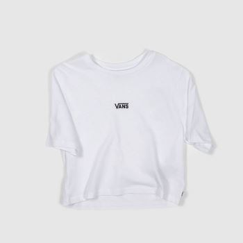 Vans White & Black Flying Vee Crop Tee Womens