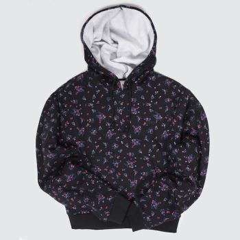 Vans Black & pink Beauty Floral Hoodie Womens#