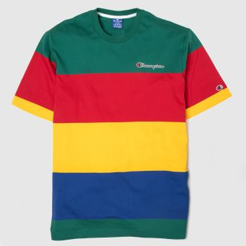 Champion Green & Red Crewneck T-shirt Mens