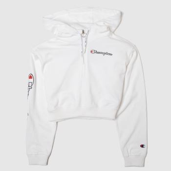 Champion White Cropped Hoodie Womens