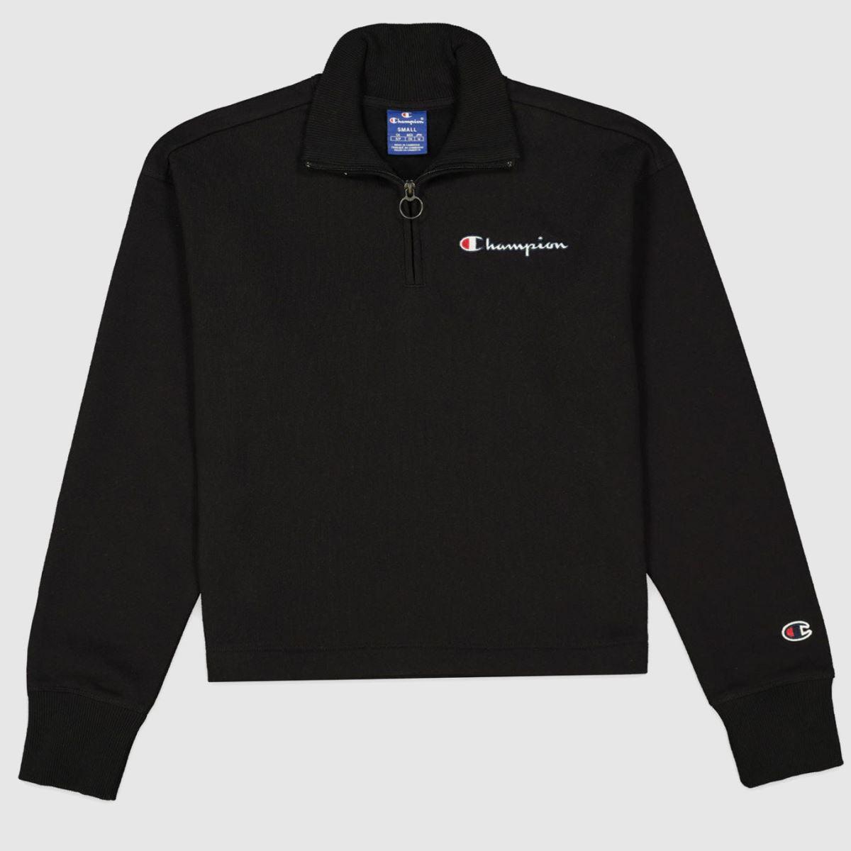 Champion Black Half Zipped Sweatshirt