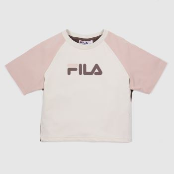 Fila White & Pink Aisha Fitted Crop Tee Womens