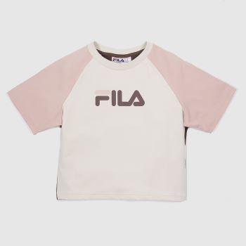 Fila White & Pink Aisha Fitted Crop Tee Womens