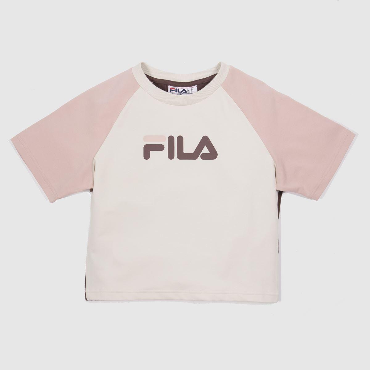 Fila White & Pink Aisha Fitted Crop Tee