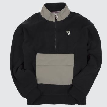 Fila Black Kenny Sherpa Half Zip Mens