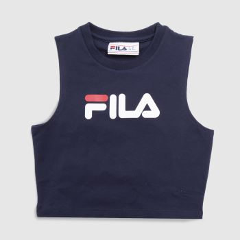 Fila Navy & White Inez Crop Top Womens