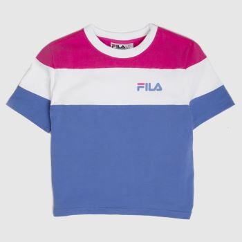Fila White & Blue Maya Crop T-shirt Womens