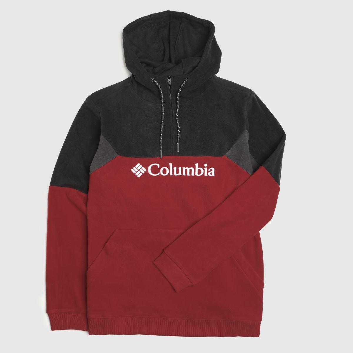 Columbia  Black & Red Lodge Ii Hoodie Fleece