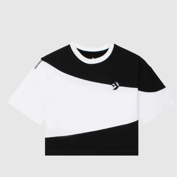 Converse Black & White Rivalry Cut & Sew Os Crop Womens