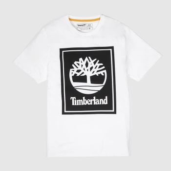 Timberland White & Black Stack Logo Tee Mens