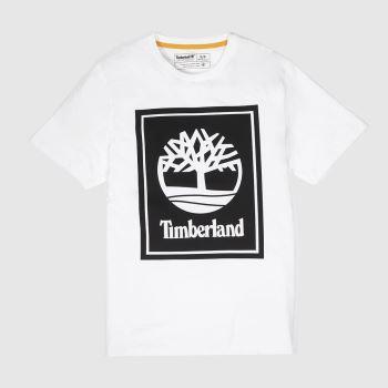 Timberland Weiß-Schwarz Stack Logo Tee Herren