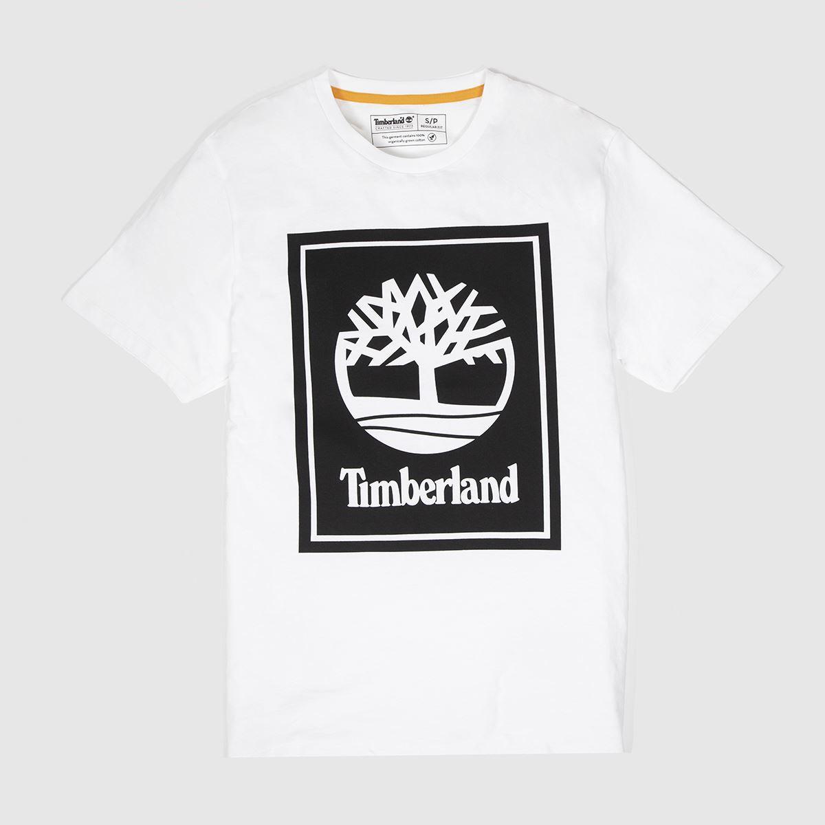 Timberland White & Black Stack Logo Tee