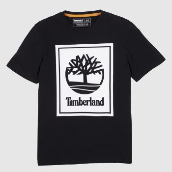 Timberland Black & White Stack Logo Tee Mens#